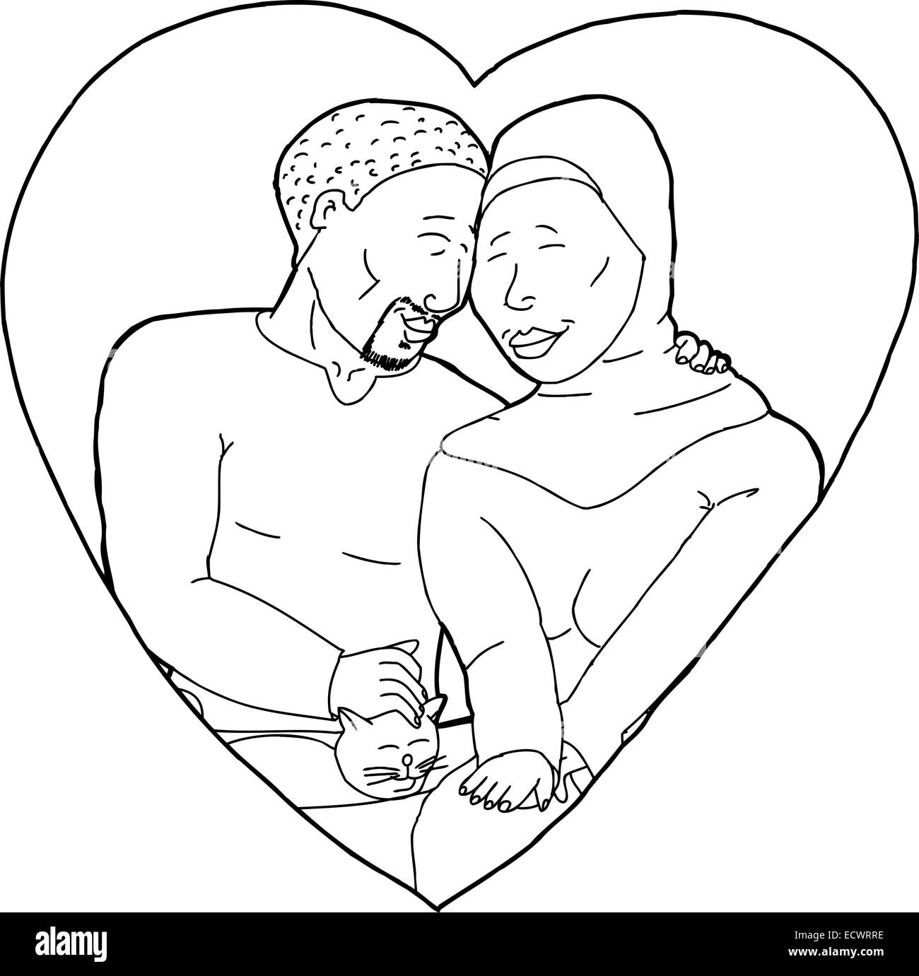 outline cartoon of happy muslim couple with pet cat stock photo