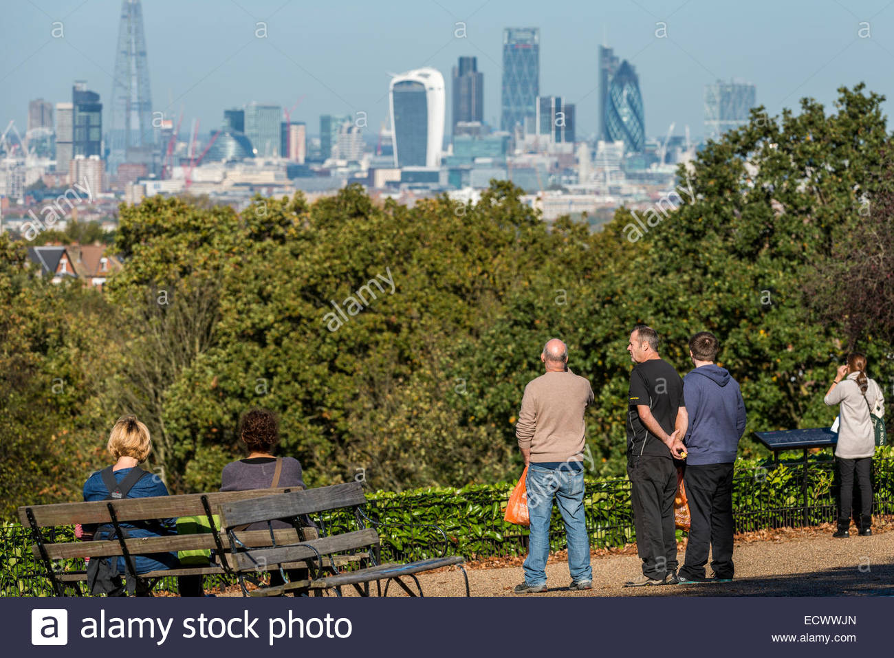 Horniman museum gardens - Stock Photo Visitors To The Horniman Museum Gardens Taking In Views Of The Financial District Of London Known As The City Or Square Mile