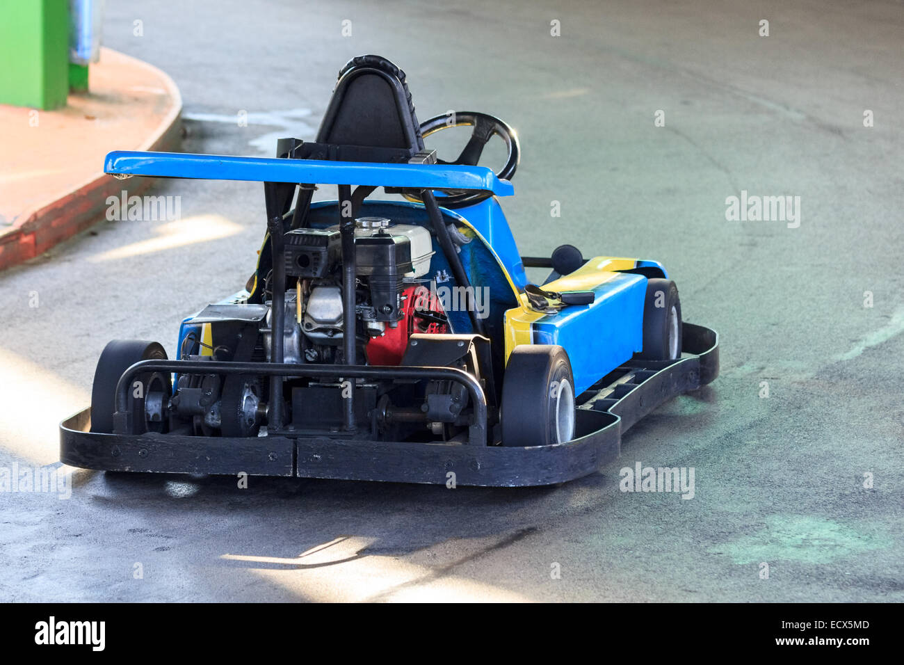 View on the engine of an old racing go kart on a track Stock Photo ...