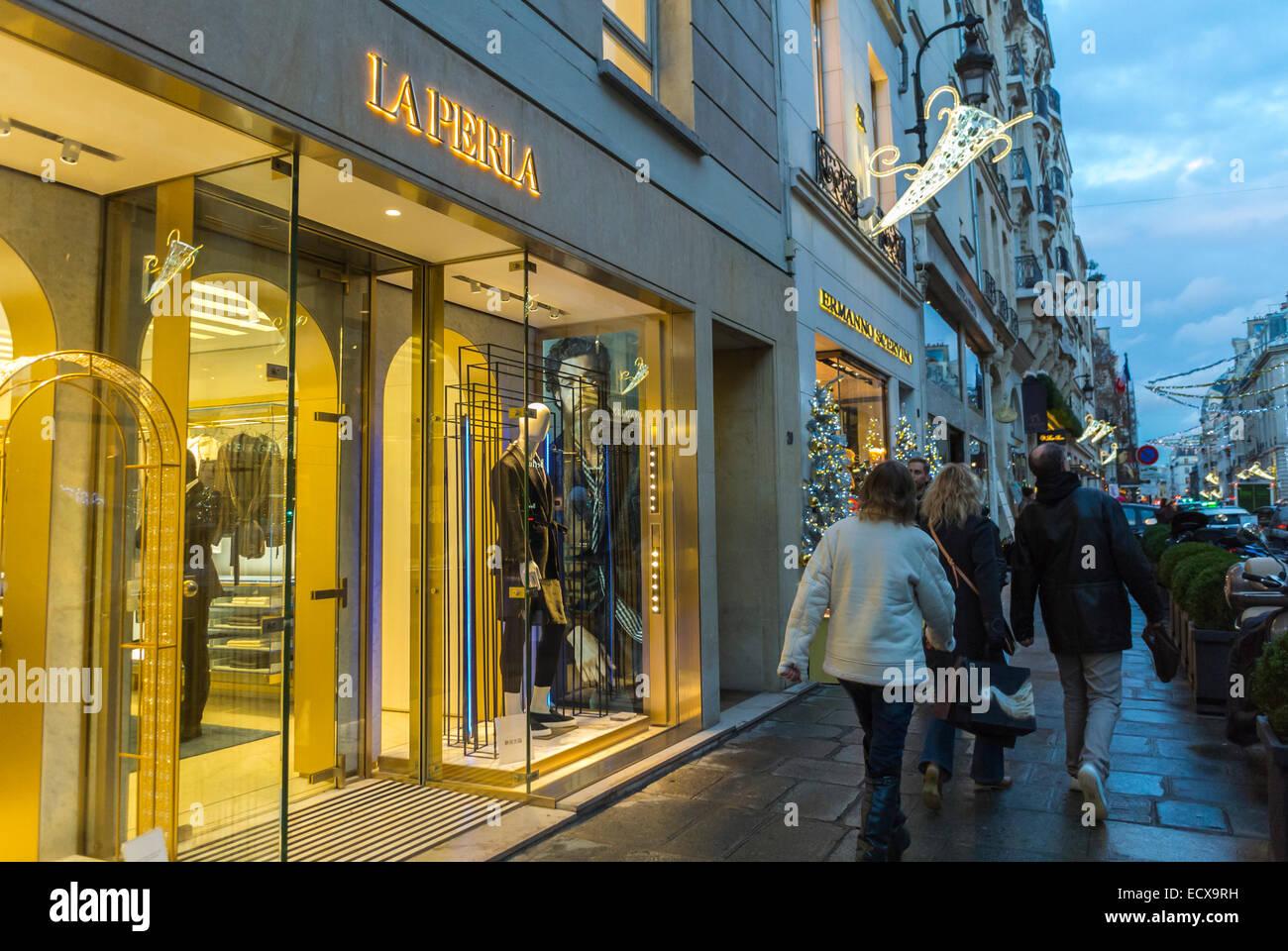 paris  france  people walking  christmas shopping  outside street stock photo  royalty free