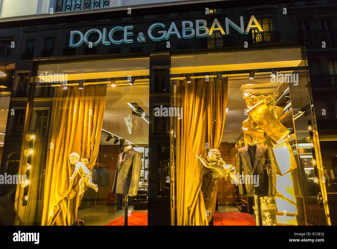 paris france shopping outside night luxury shops dolce stock photo royalty free image. Black Bedroom Furniture Sets. Home Design Ideas