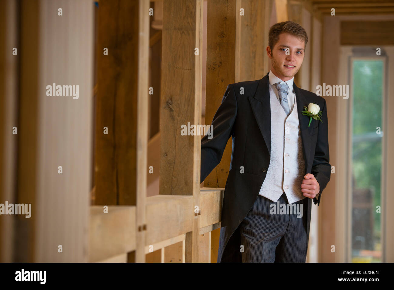 Getting married / Wedding day UK: a young man , the groom, dressed ...
