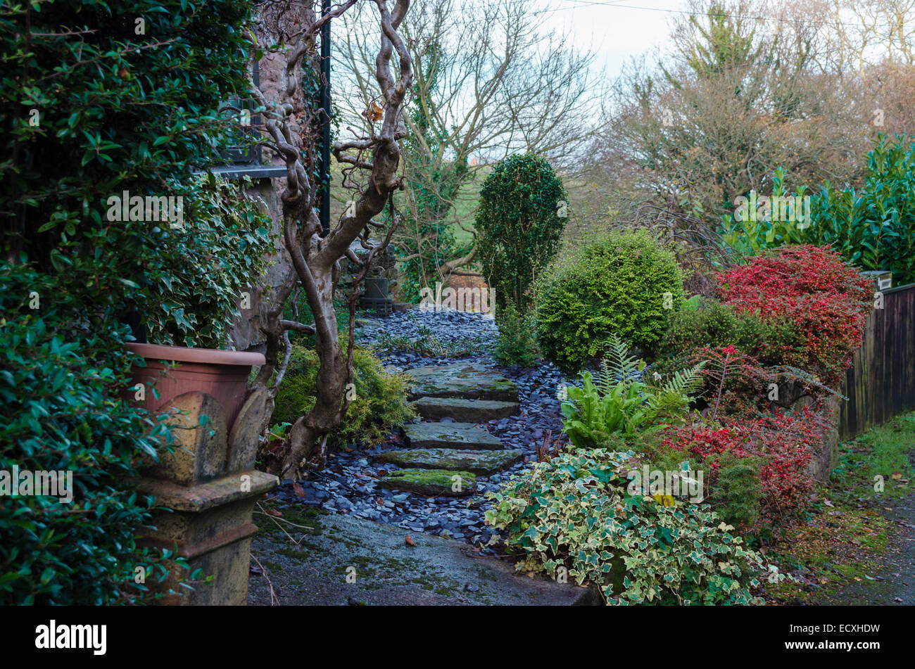 typical welsh cottage garden in winter stock photo royalty free