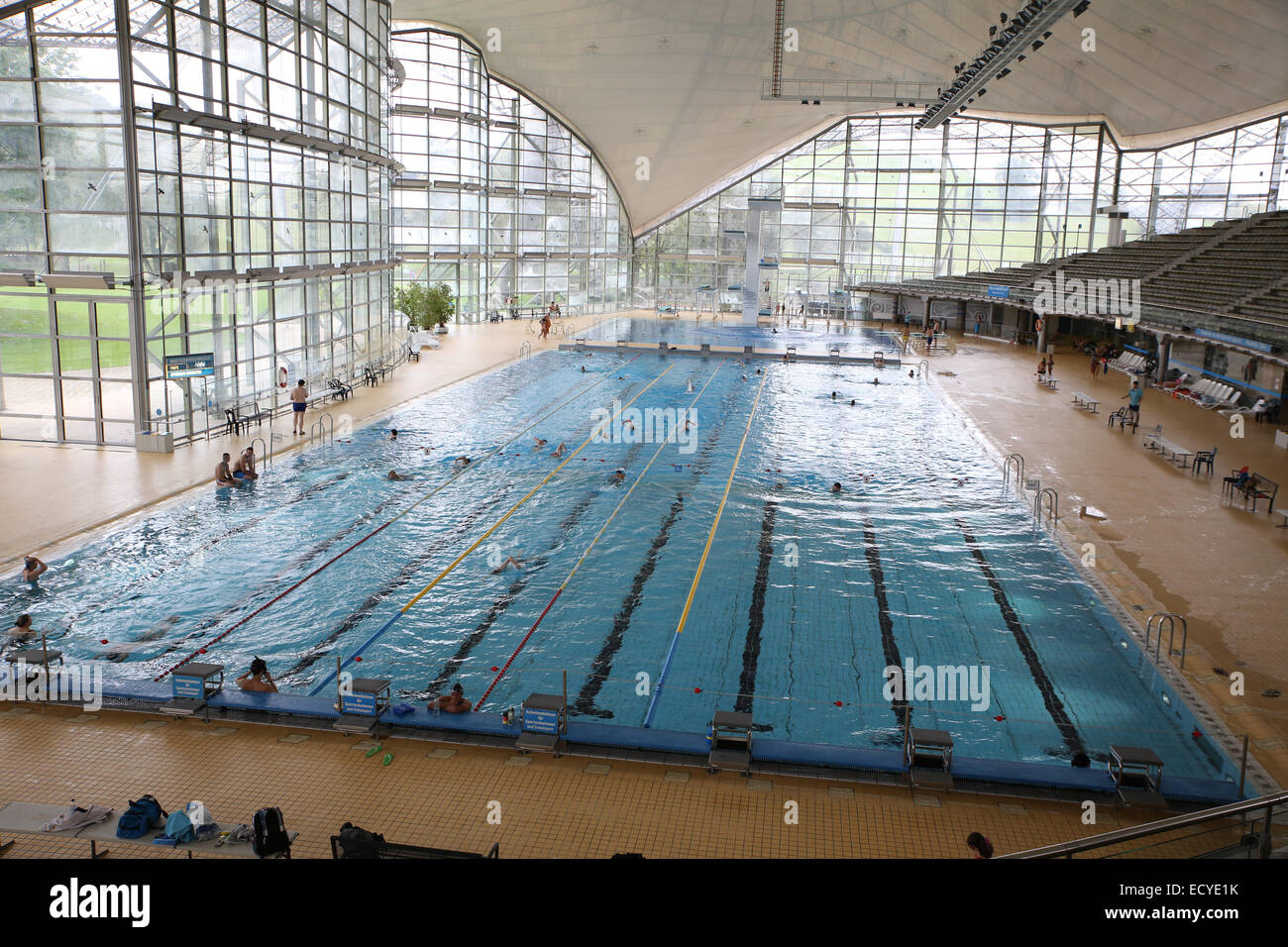 olympic swimming pool munich germany stock photo royalty free image 76821071 alamy. Black Bedroom Furniture Sets. Home Design Ideas