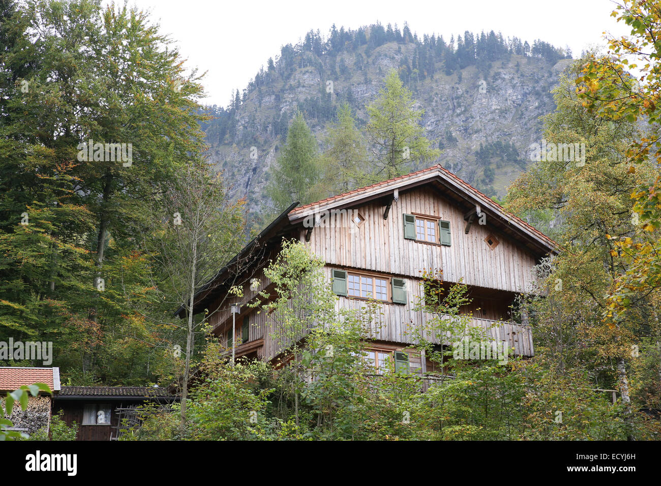 Stock photo old wooden house mountain forest germany