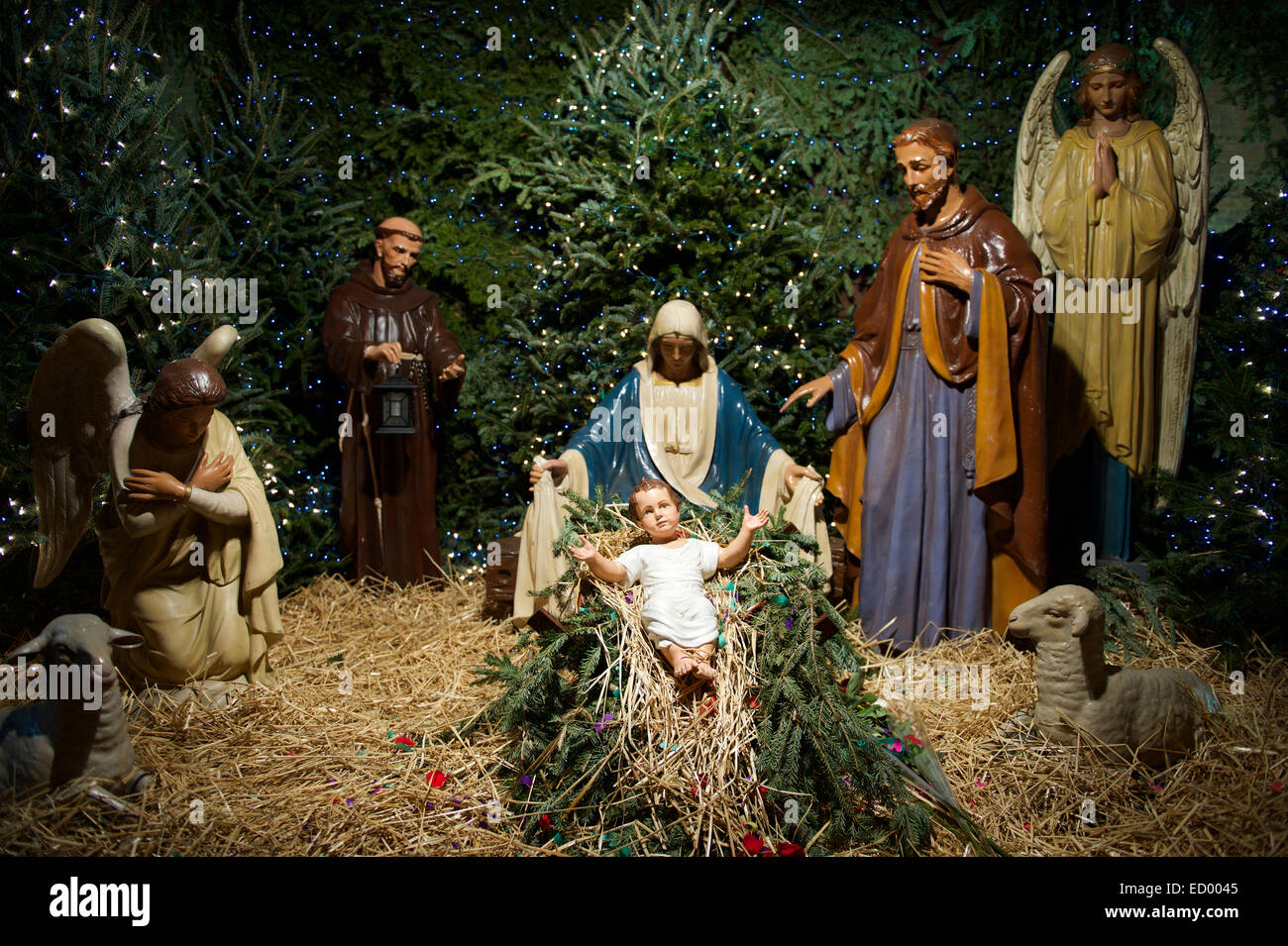 christmas nativity scene with mary joseph and the angel gabriel