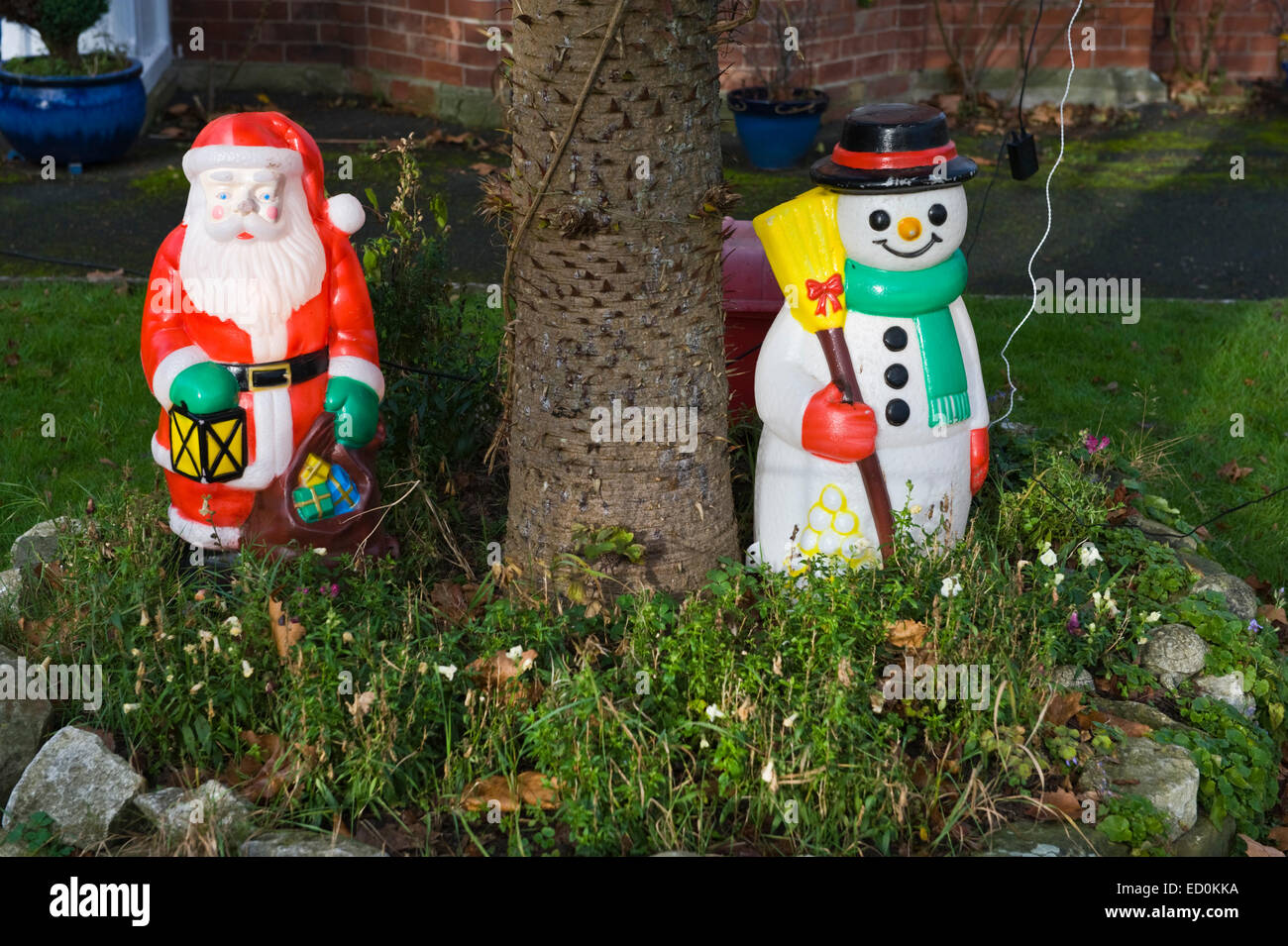 Christmas decorations in garden of detached house at Kington Stock ...