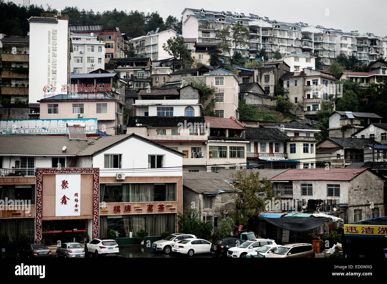 Residential Houses On A Slope Of A Hill In Zhangjiajie