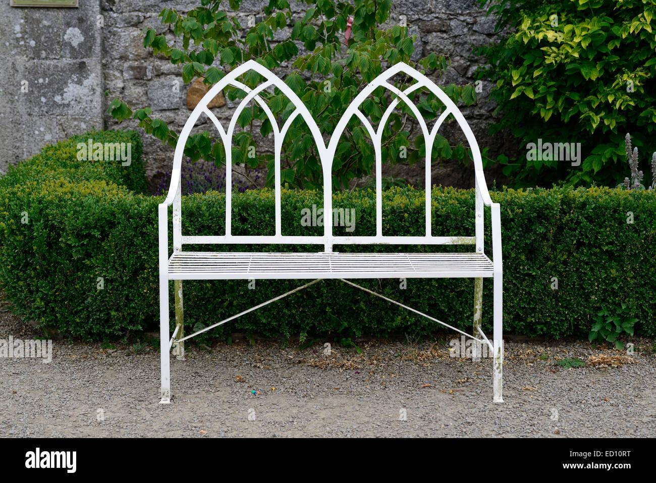White garden seat seating two seater wrought iron metal bench