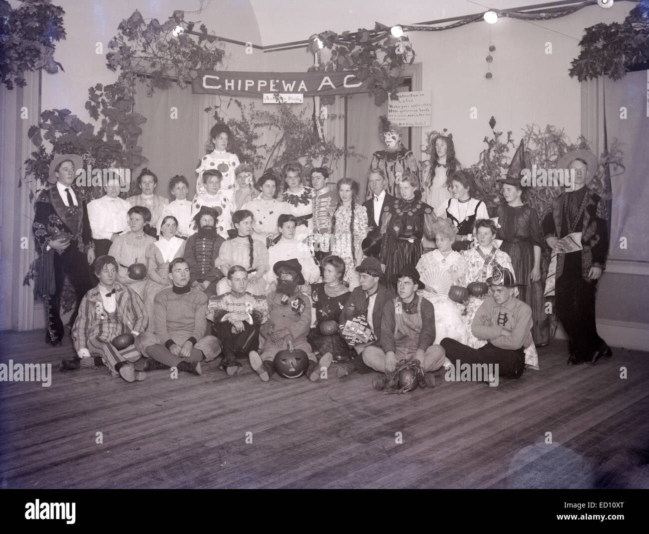Antique, circa 1902 image, group photo at the Halloween Party of ...
