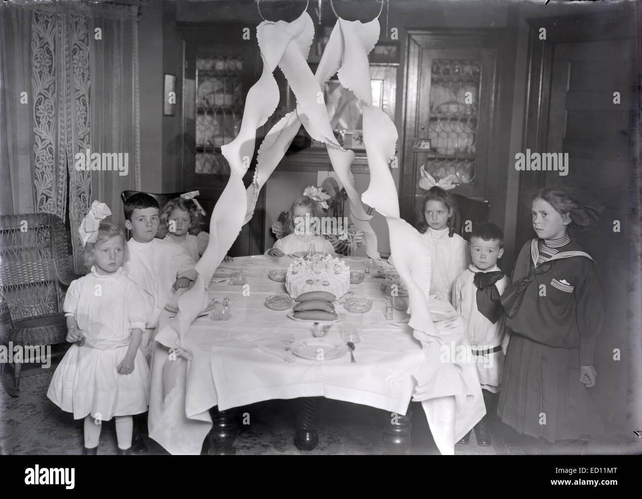 Antique Circa 1911 Image Victorian Birthday Party For A