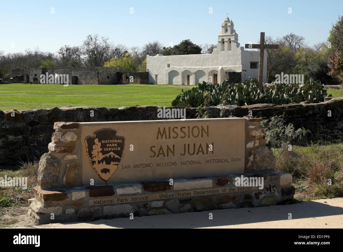 National historical park service sign at the entrance of mission san juan capistrano at san antonio texas