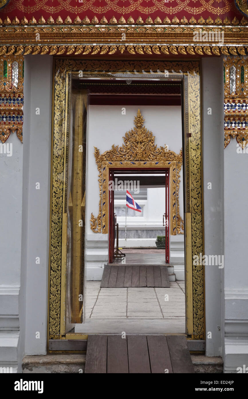 Two doors at Wat Pho Buddhist temple in Phra Nakhon district Thai flag Bangkok Thailand. Southeast Asia & Two doors at Wat Pho Buddhist temple in Phra Nakhon district Thai ...