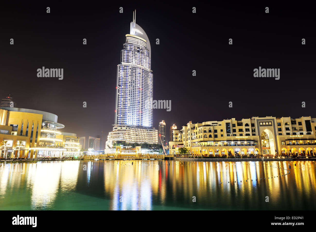 The night view on dubai mall and address hotel it is the for The largest hotel in dubai