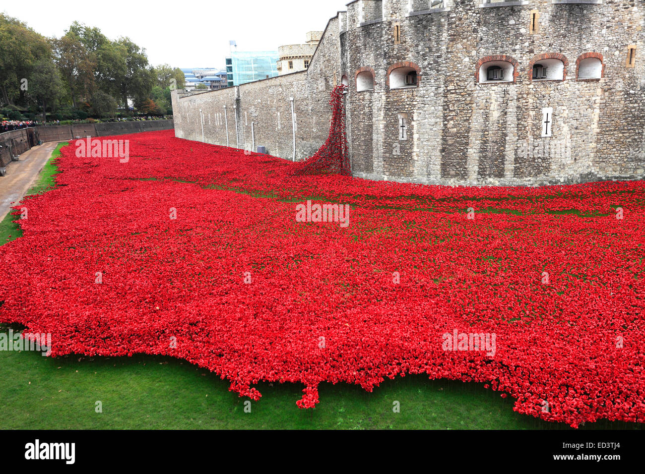 Ceramic Poppy Flowers Around The Exterior Of The Tower Of