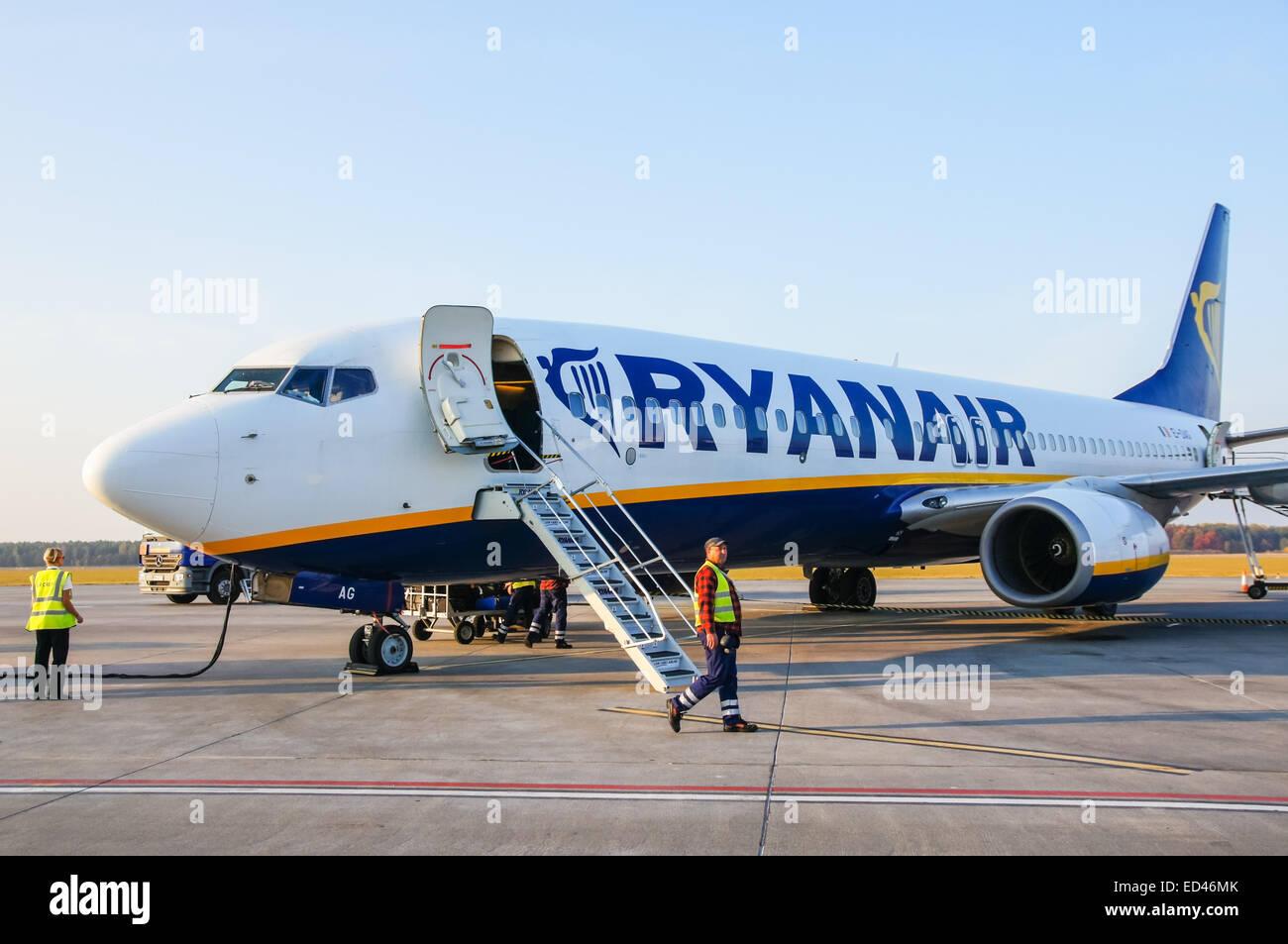 Boeing 737 800 aircraft inside image - Ryanair Boeing 737 800 Plane At Warsaw Modlin Airport Poland