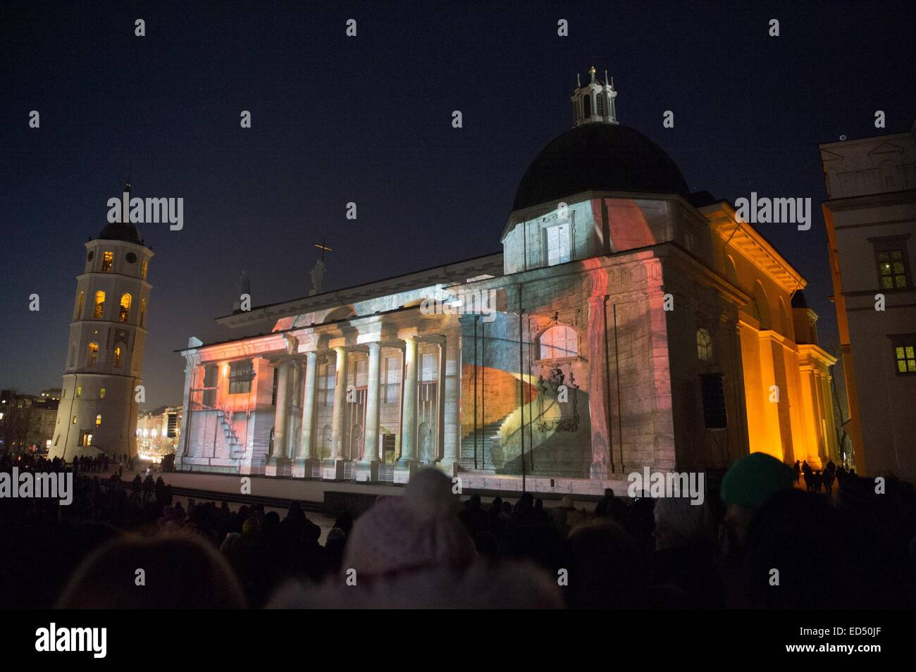 3D Light Show vilnius, lithuania. 27th dec, 2014. people watch a 3d light show