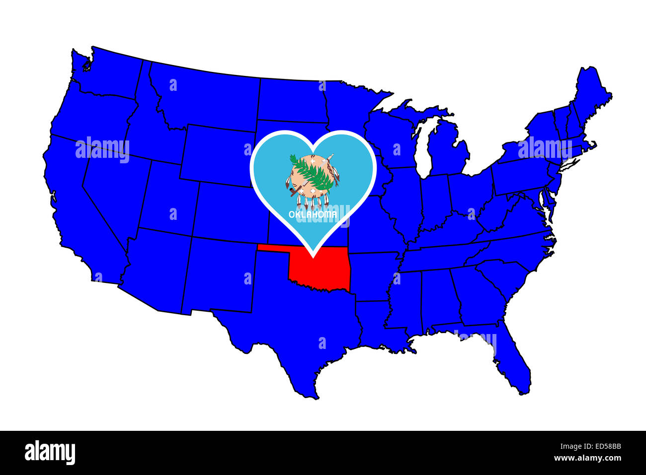 Oklahoma state outline and icon inset set into a map of The United