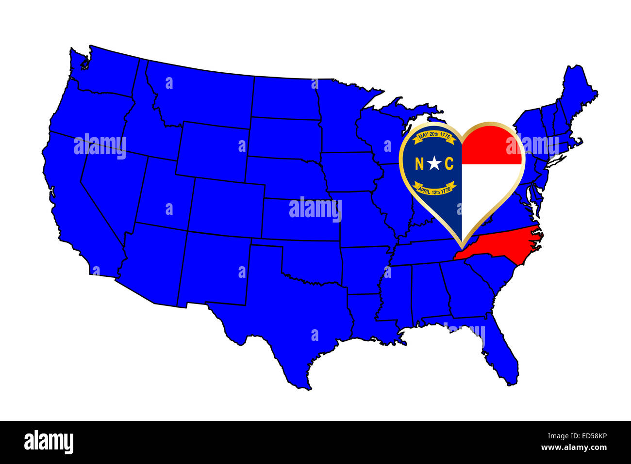 North Carolina State Outline And Icon Inset Set Into A Map Of The - North carolina on a us map
