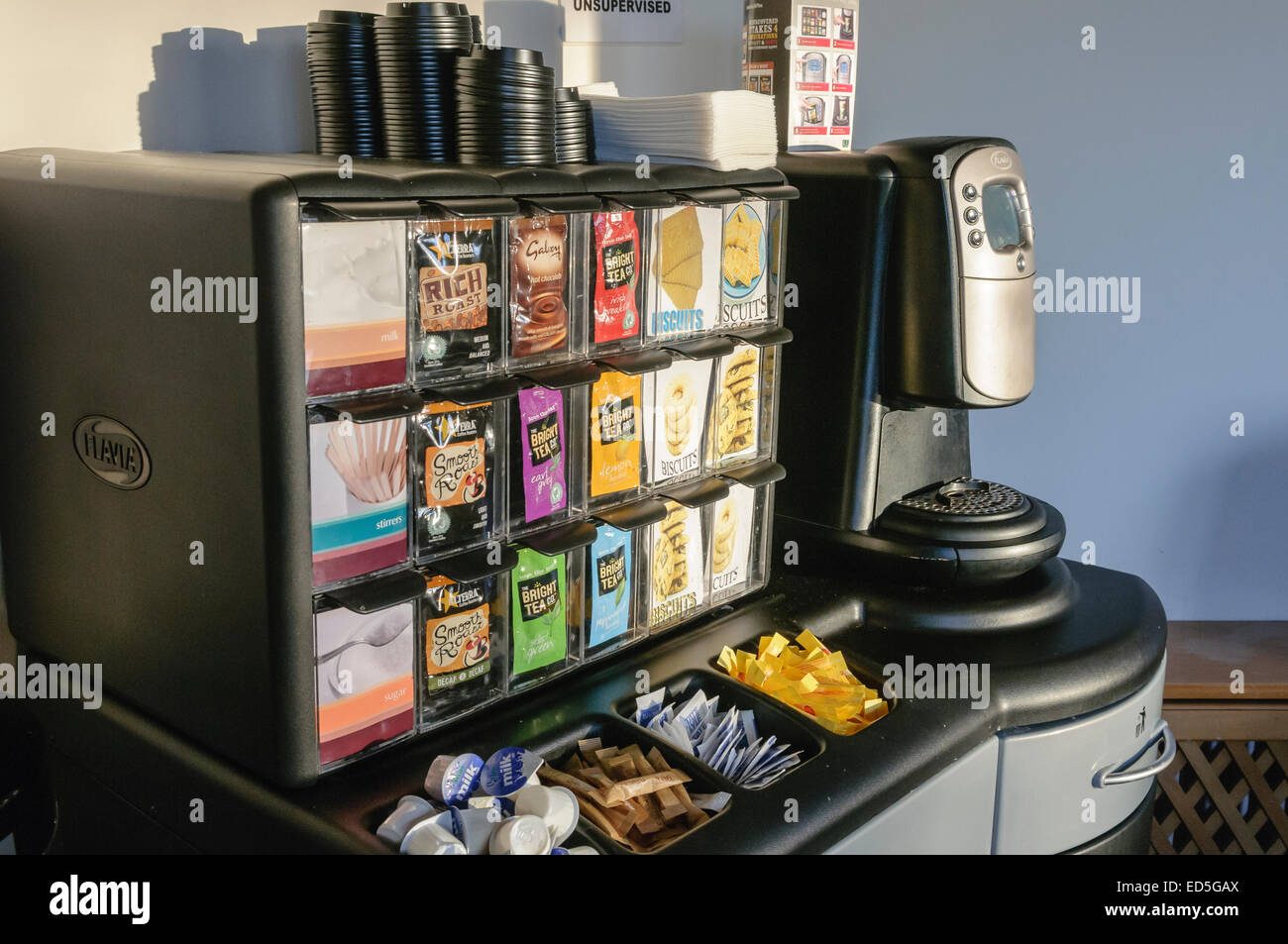 Flavia One Cup Coffee Maker : Flavia coffee machine with a selection of sachets of tea, coffee and Stock Photo, Royalty Free ...