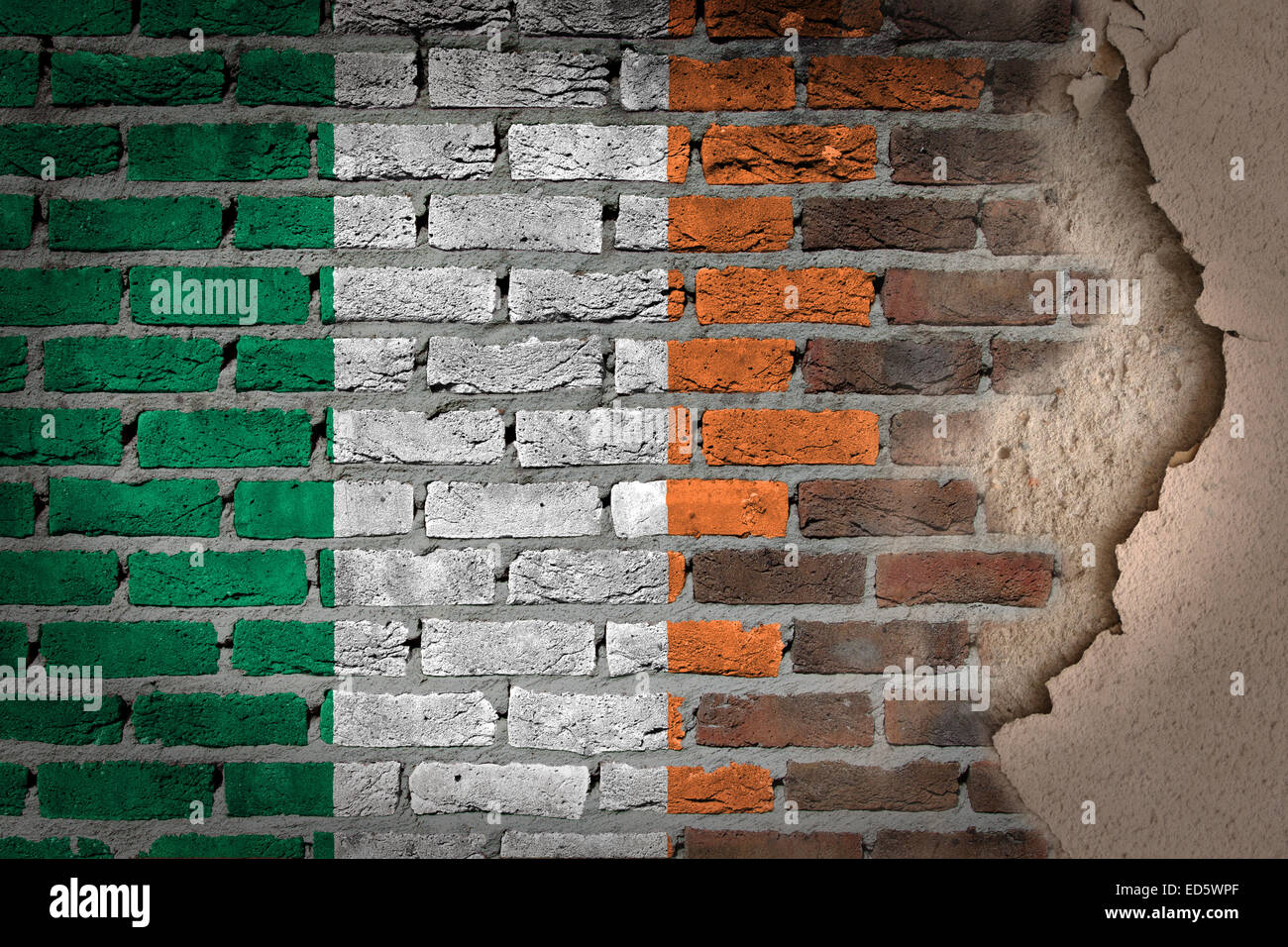 Dark Brick Wall Texture With Plaster Flag Painted On Wall Ireland Stock P
