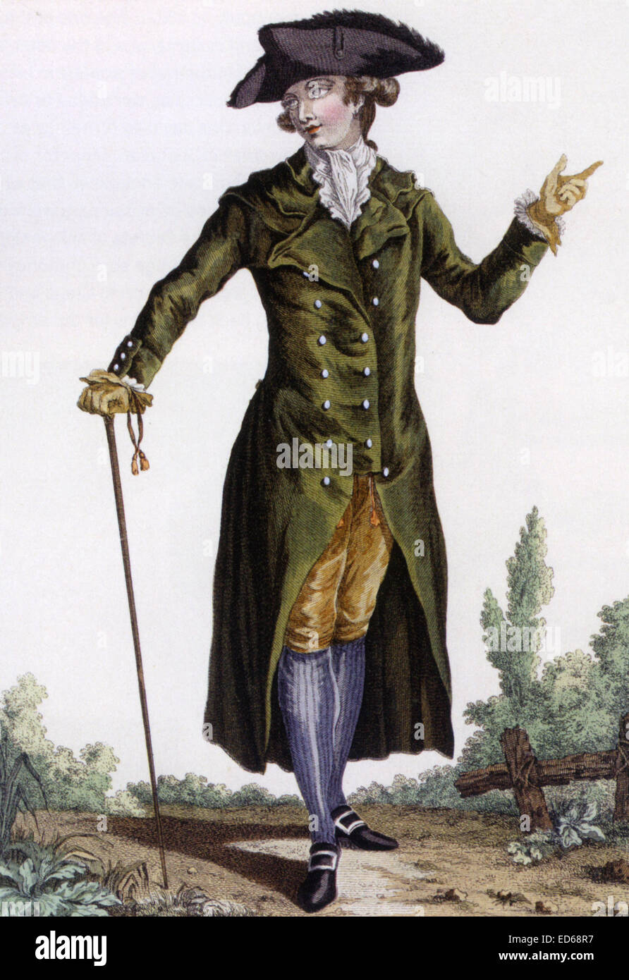 French Fashion Plate About 1780 Showing A Man Wearing A