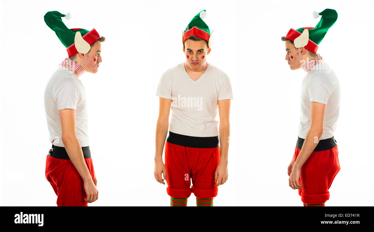 The Usual Suspects A Triptych Of Young Man At Christmas Xmas Theme Fancy Dress Office Party Wearing An Elf Costume And Looking