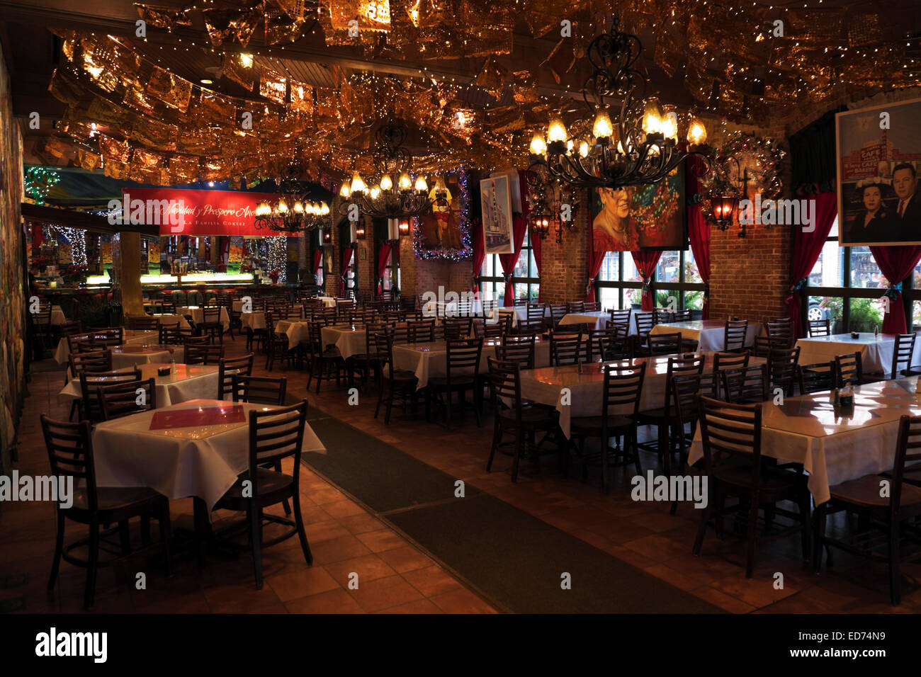 Early Morning Interior Of The Front Dining Room Mi Tierra Restaurant At Market Square In San Antonio Texas