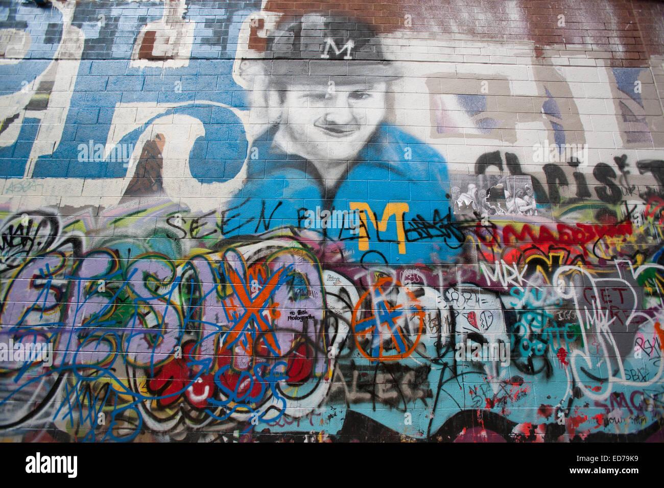 Graffiti wall ann arbor -  Graffiti Alley Ann Arbor Stock Photo