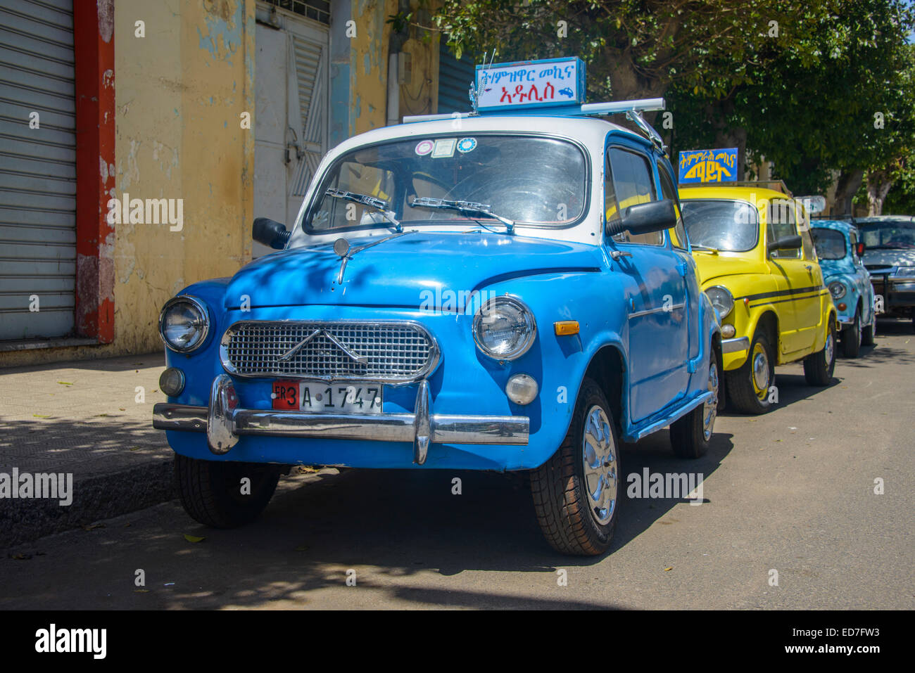 Old Fiat 500, now cars of a driving school, Asmara, Eritrea Stock ...