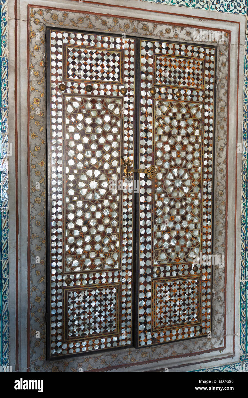 Mother-of-pearl inlay doors of harem of Privy Chamber of Sultan Murad III in Topkapi Palace Sarayi Istanbul Turkey & Mother-of-pearl inlay doors of harem of Privy Chamber of Sultan ...