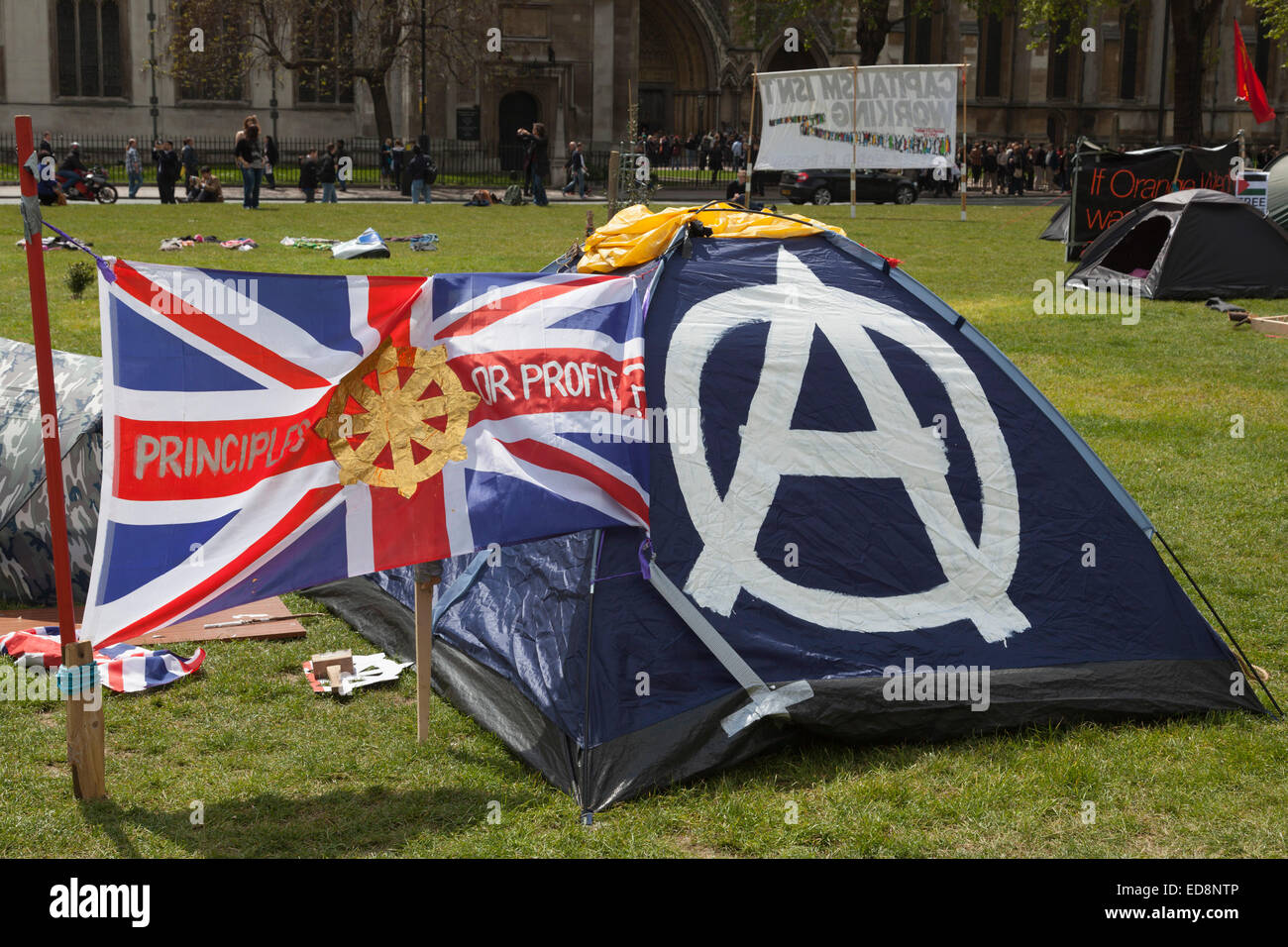 A Union Jack flies next to an anarchistu0027s tent in Parliament Square London England United Kingdom UK & A Union Jack flies next to an anarchistu0027s tent in Parliament ...