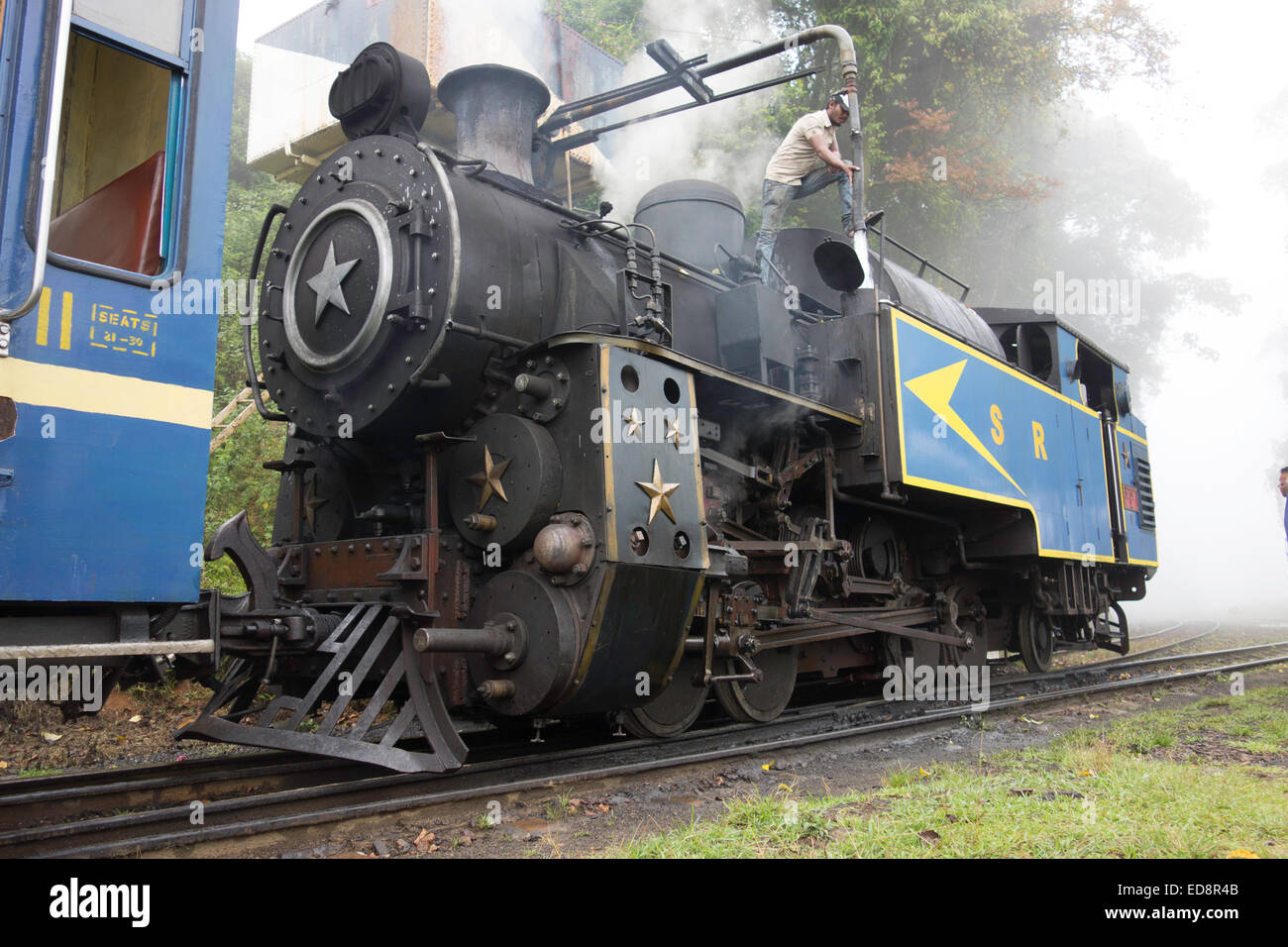 Old steam train in Ooty, south India. Funicular Railway to ...
