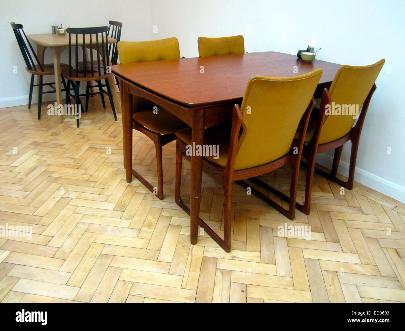 danish furniture in trendy london cafe stock photo
