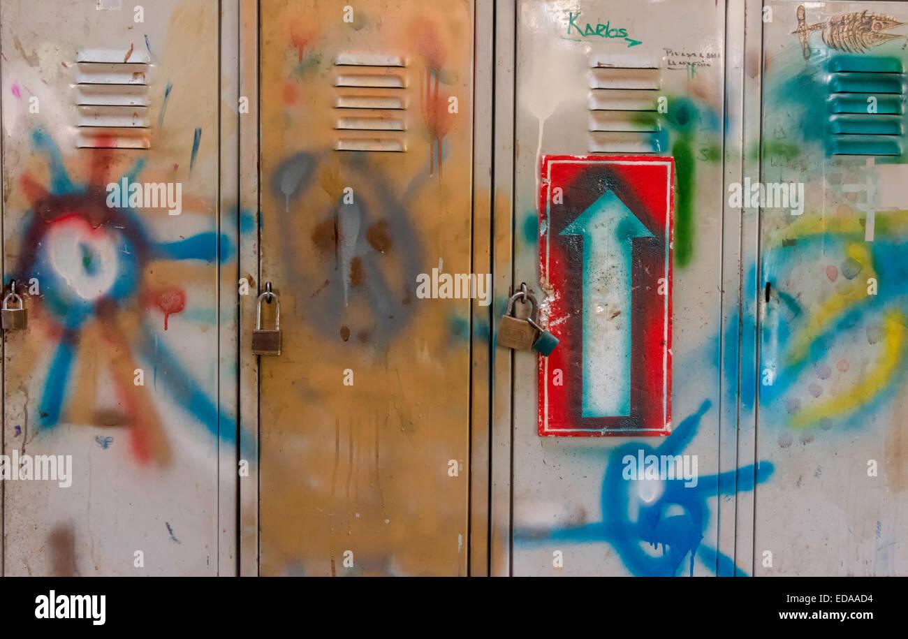Locker Doors painted with graffiti Stock Photo, Royalty Free Image ...