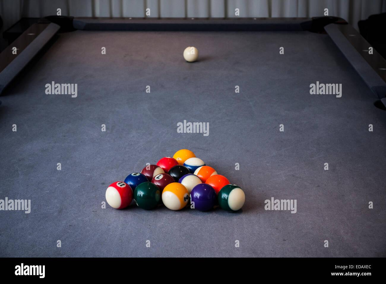 Setting Up A Pool Table Pool Table Setup Stock Photo Royalty Free Image 77072308 Alamy