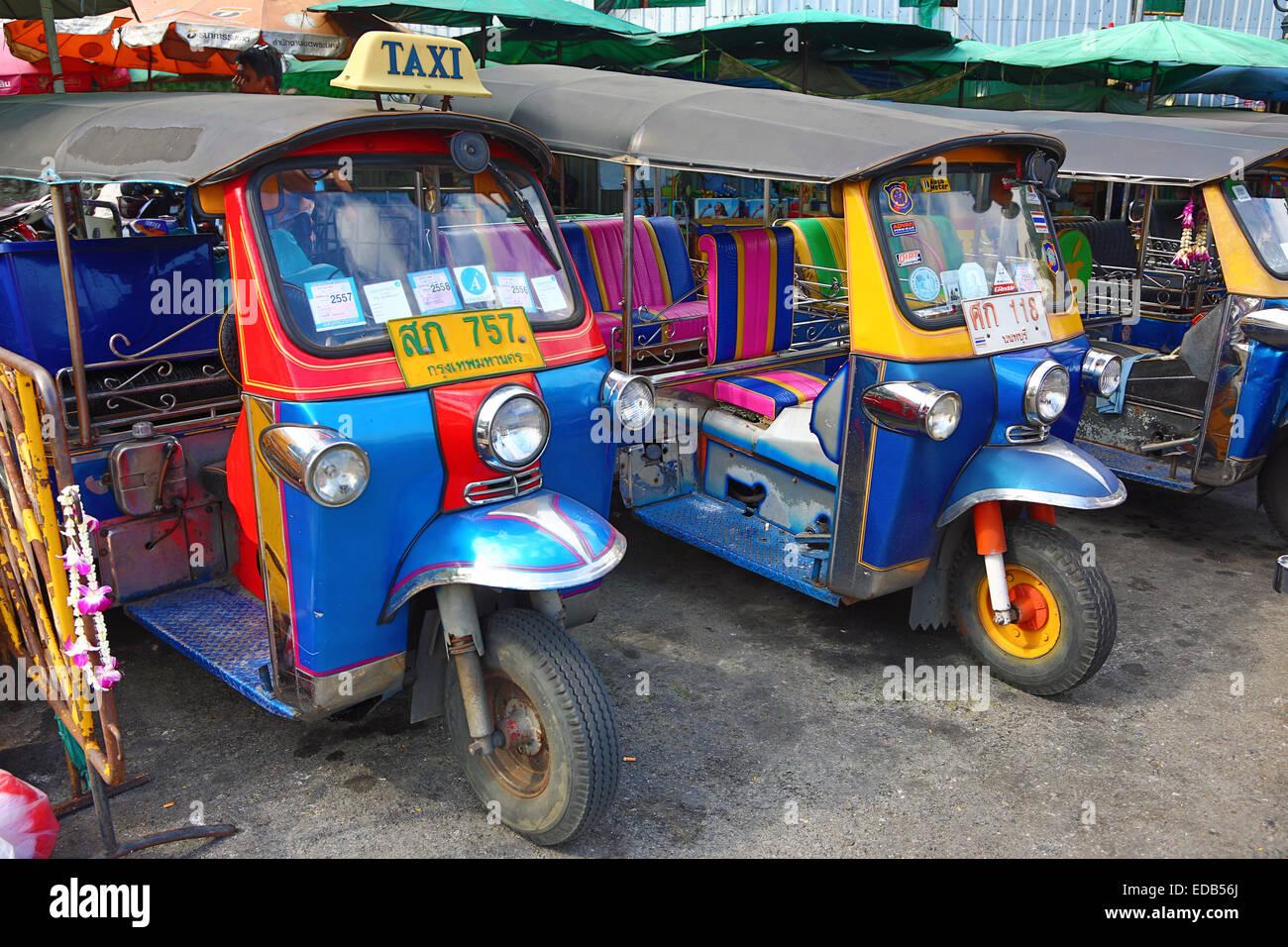 traditional tuk tuk taxi transport in bangkok thailand stock photo royalty free image. Black Bedroom Furniture Sets. Home Design Ideas