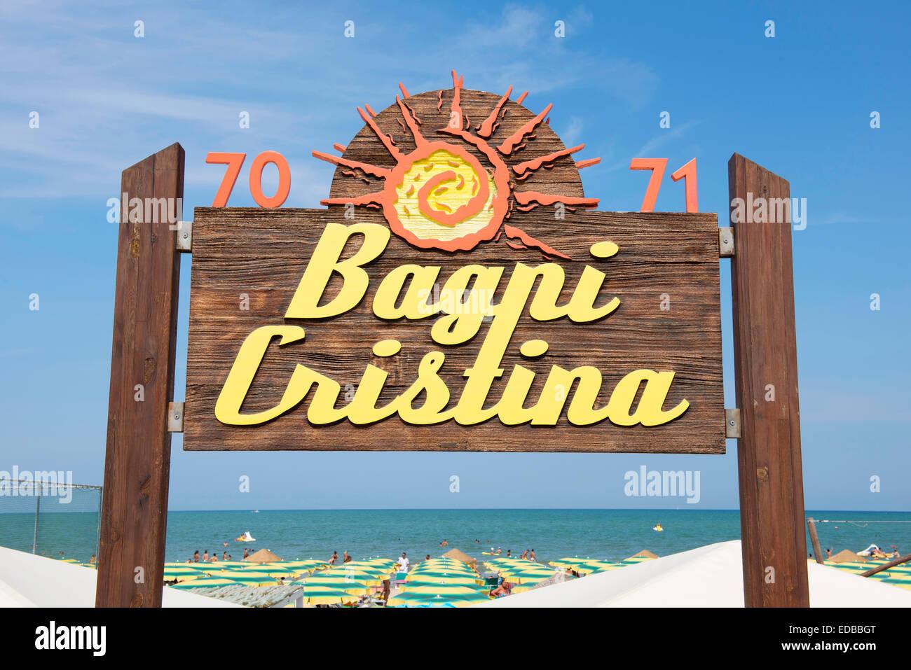 Sign, Bagni Cristina, no. 70, 71, lido, beach, Senigallia ...