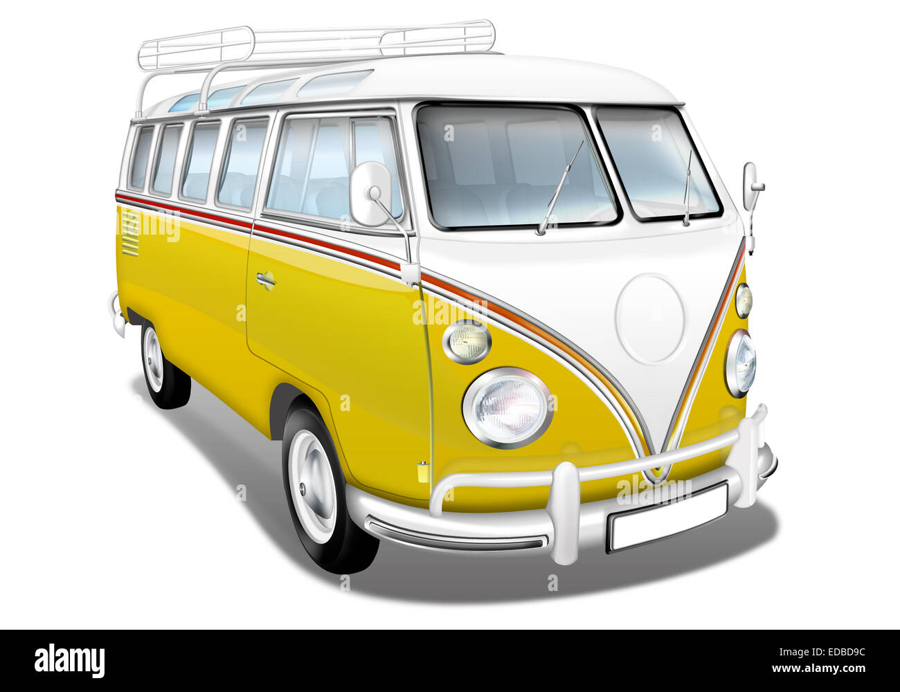 vw bus vw bus t1 german vintage car as a camper yellow and white stock photo royalty free. Black Bedroom Furniture Sets. Home Design Ideas