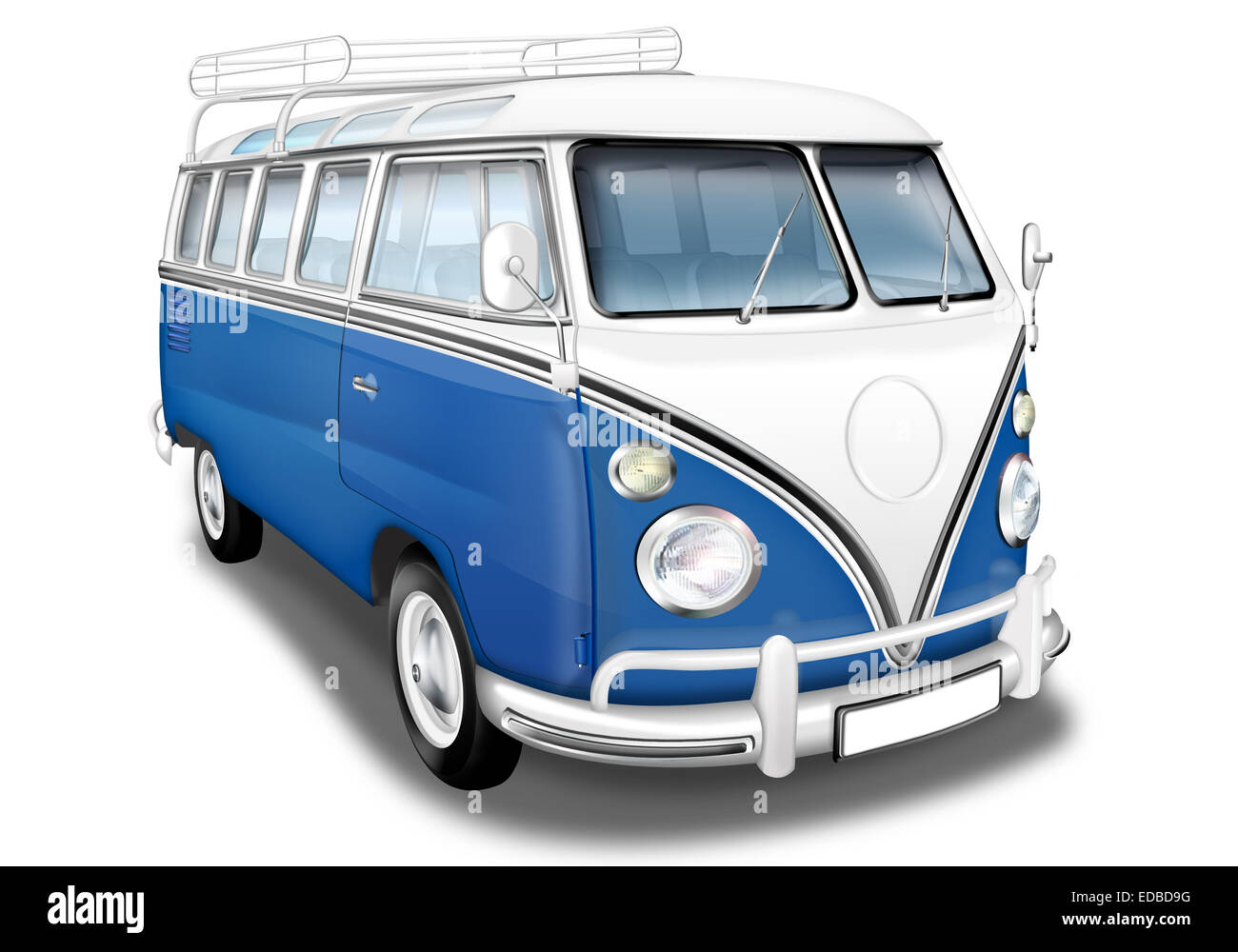 vw bus vw bus t1 german vintage car as a camper blue and white stock photo royalty free. Black Bedroom Furniture Sets. Home Design Ideas