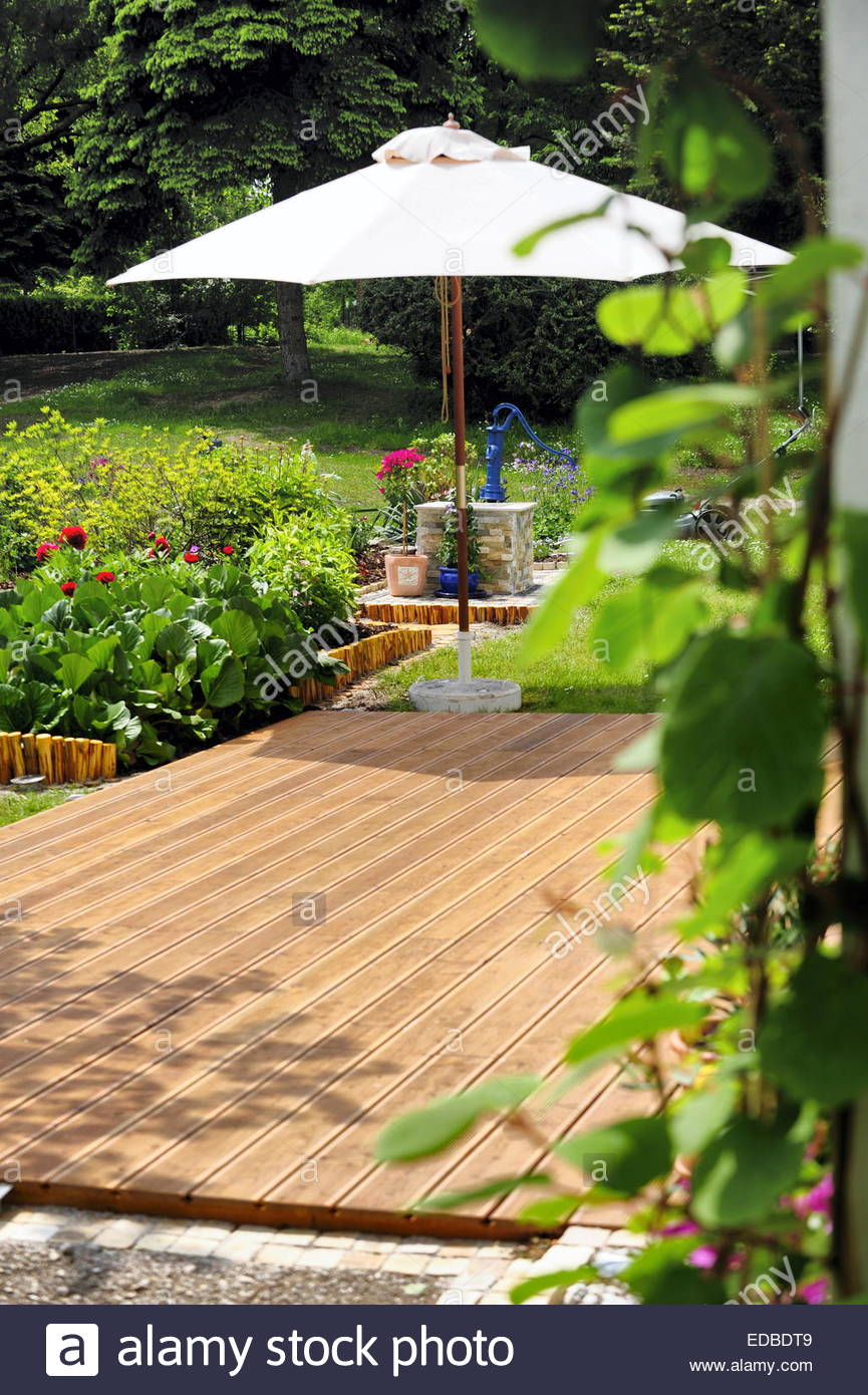 Nature garden with wooden terrace stock photo royalty for Terrace nature