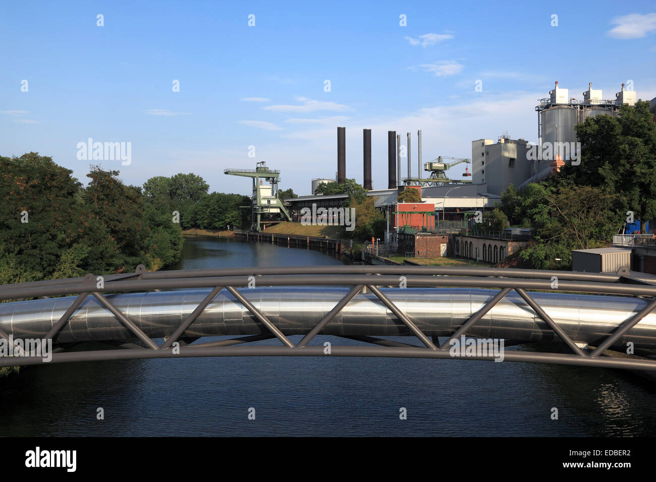 district heating pipeline on a pipeline bridge over the stock photo royalty free image. Black Bedroom Furniture Sets. Home Design Ideas