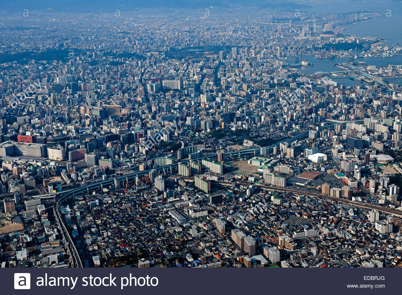 http://c8.alamy.com/comp/EDBRJG/aerial-view-of-god-hakata-bay-fukuoka-city-EDBRJG.jpg