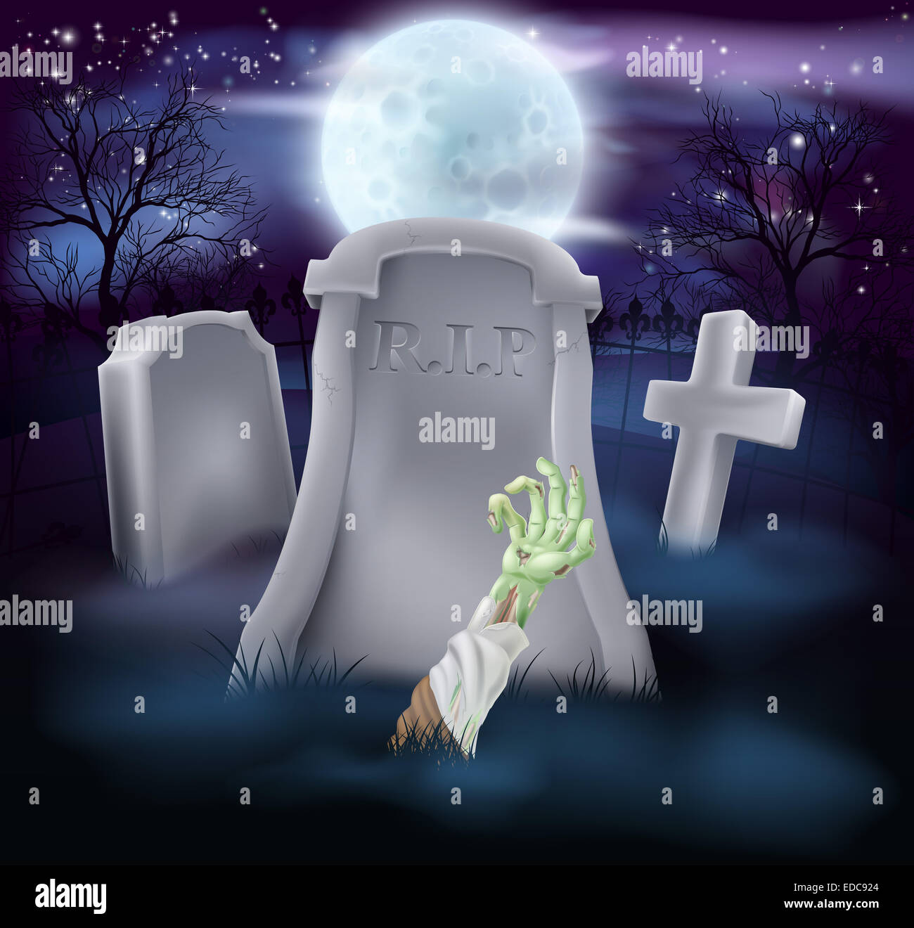 A spooky zombie grave Halloween illustration with full moon in the ...