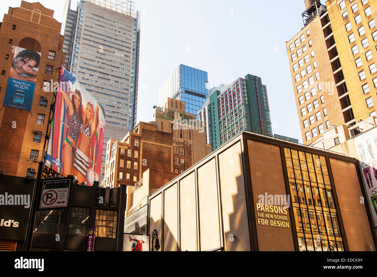 parsons the new school for design, new york city, usa stock photo