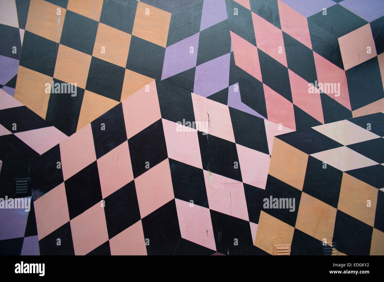 Painted Wall Abstract Geometric Patterns Stock Photo