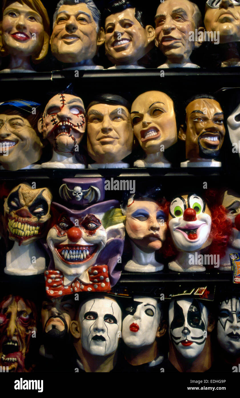 Halloween masks on display in shop on Hollywood Blvd Stock Photo ...