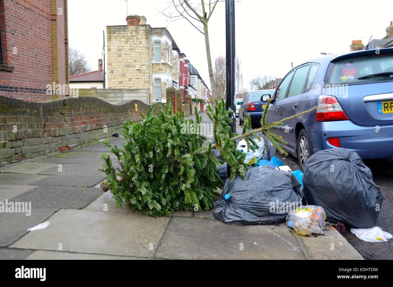 Rubbish In Street London Bin