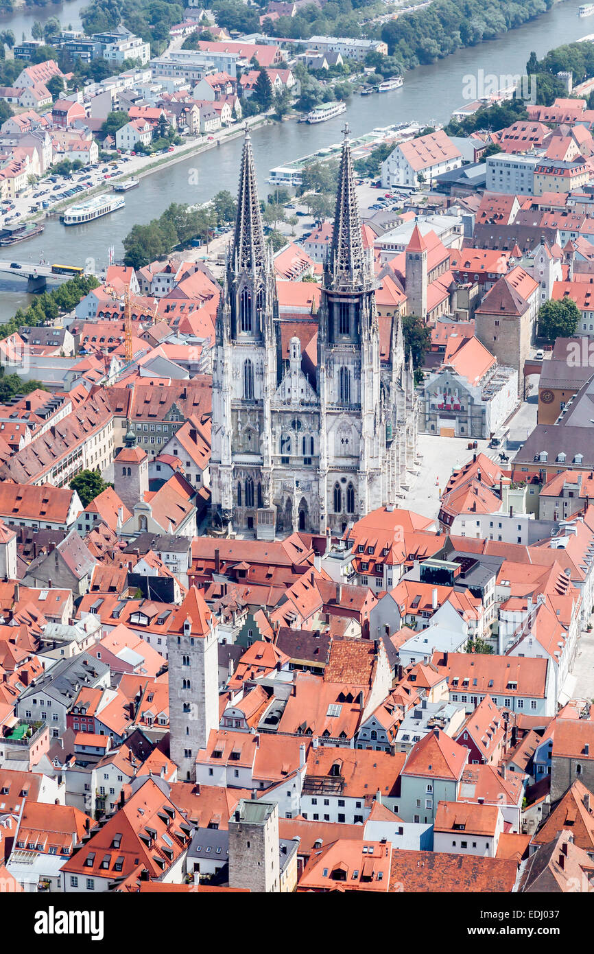 aerial view old town with the regensburg cathedral and the danube stock photo royalty free. Black Bedroom Furniture Sets. Home Design Ideas