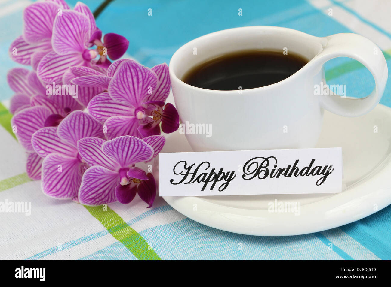 happy birthday card with coffee and pink orchid stock photo, Birthday card